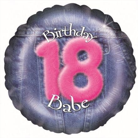 "Age 18 Denim Pink  18"" Foil Baloon + weight and ribbon"